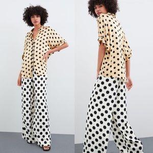 Zara Silky Polka Dot Wide Leg Trousers